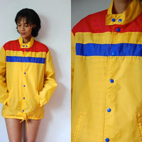 Vtg Nylon Yellow Blue Red Retro Striped Drawstring Jacket