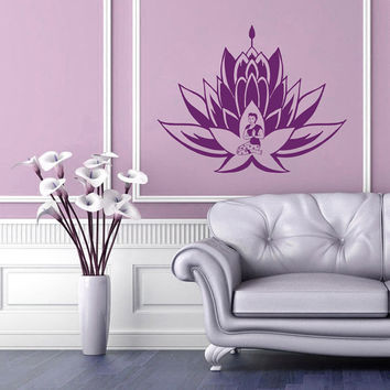 Wall Decals Lotus Flower Flora Meditation Buddha Yoga East Eastern Art  Bedroom Living Any Room Vinyl Decal Sticker Home Decor  ML145