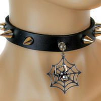 Black Widow Spider Web Spike Leather Choker Necklace Alternative Collar