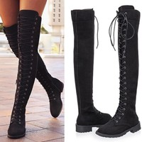 Fashionable large-sized new strap-on boots in autumn and winter