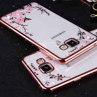 Flower Bling Diamond Case For Samsung Galaxy A5 A3 A7 J5 J7 2016 2017 S6 S7 Edge S8 Plus Soft Clear Tansparent Phone Back Cover
