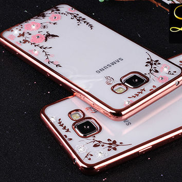 Flower Bling Diamond Case For Samsung Galaxy S6 A5 A7 A8 A9 J5 J7 2015 2016 N7 N3 4 5 Soft TPU Clear Tansparent Phone Back Cover