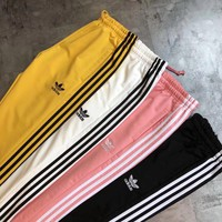 Adidas Women 3 Stripe Pure Color Casual Sport Pants Sweatpants #139