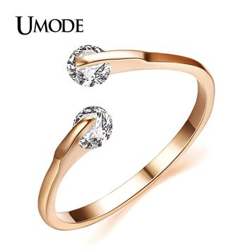 UMODE Fashion Bypass Ring Rose Gold / Rhodium color Two Stone Wedding Rings Jewelry For Women With AAA CZ  AJR0013