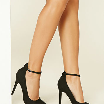 Faux Suede Ankle-Strap Pumps