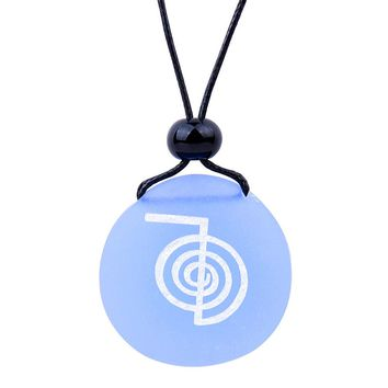 Amulet Frosted Sea Glass Stone Choku Rei Reiki Energy Good Luck Powers Sky Blue Adjustable Necklace