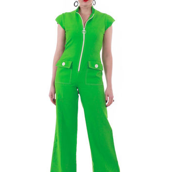 1960's Mod Jumpsuit Bright Lime Green and Polka Dot Fit and Flare Bell Bottom Space Age Pantsuit 70s Vintage Clothing Womens Size Medium