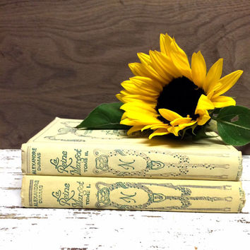French Books, Alexandre Dumas, La Reine Margot, French Tomes, Nelson Edition, Creme French Books, Old French Books, Books for Wedding