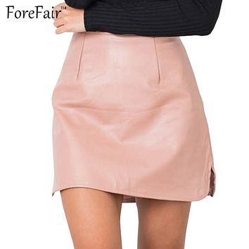 ForeFair Pink Black Khaki Vintage Faux Leather Skirt Slim Mini Pencil Skirts Womens Back Zipper Plus Size Saia