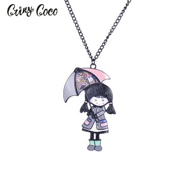 Enamel Necklace&Pendant Lovely Doll with Umbrella Necklace Long Chain Fashion Jewelry For Women Girl Accessories Gift Necklace