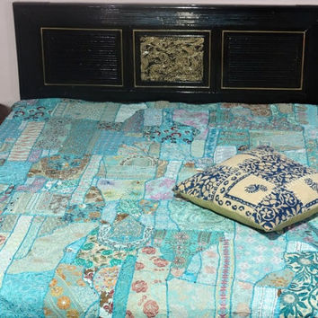 handmade sari patchwork tribal bedcover vintage hand embroidered bedspread
