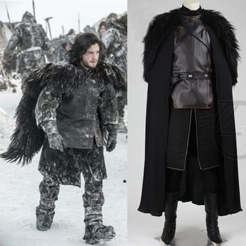 2018 Game of Thrones Costume Jon Snow Costume Outfit With Coat Halloween Clothing Men Cosplay Costume top+cloak+belt+skirt