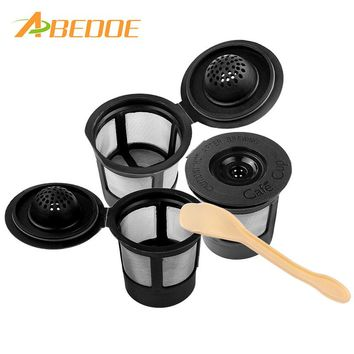 ABEDOE 3pcs Capsules reusable Refillable nescafe dolce gusto capsule cup cafeteira dolce gusto coffee capsule caps With Spoon