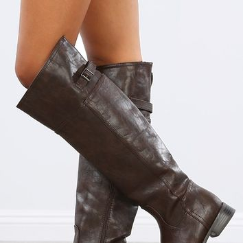 Breckelle's Rider-82 Brown Buckle Riding Boots | MakeMeChic.com