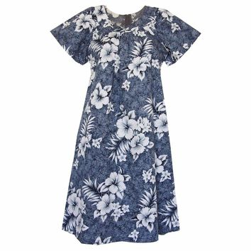 Flower Power Grey Cotton Hawaiian Muumuu Dress