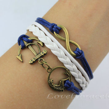 Bronze infinity navy anchor and mermaid bracelet, fashion charm bracelet, the best gift of friendship