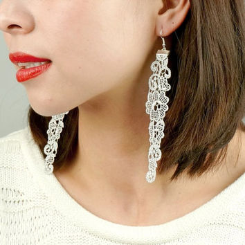 SALE elegant silver lace earrings // boho chic floral // silver long earrings // gift for her