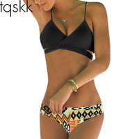 2016 Sexy Criss Cross Bikini Brazilian Bandage Swimsuit Women Push Up Swimwear