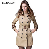 2017 New Spring Autumn Winter Women Trench Coat Double-breasted Plus Size Long Women's Slim Outerwear Solid Cotton Coat Overcoat