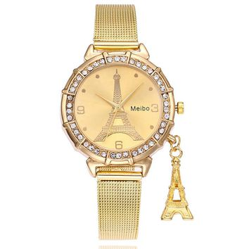 Crystal Gold Watches Women Clock Eiffel Tower Pendant Dress Women Metal Watch Bracelets Discount Stainless Steel Quartz Watch