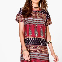 Alina Multi Paisley Cap Sleeve Shift Dress