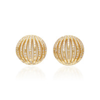 18K Gold, Diamond and Enamel Stud Earrings | Moda Operandi