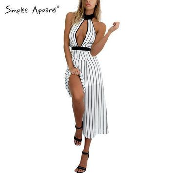 DCK9M2 Simplee Apparel sexy deep v neck chiffon striped women jumpsuit romper Sleeveless girl playsuit Halter backless straight macacao