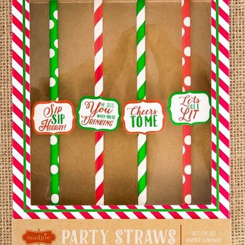 Holiday Cheers Party Straws