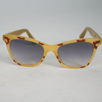 1950's yellow cat eye sunglasses with animal print pattern, plastic mid century eyewear, non prescription glasses