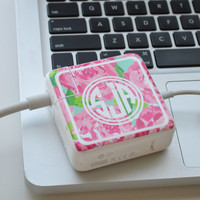 Lilly Pulitzer Inspired Vinyl Monogram MacBook Charger Wrap Decal