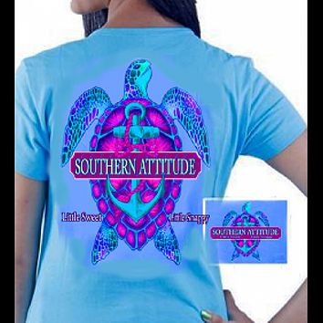 Country Life Outfitters Southern Attitude Snappy Turtle Anchor Bow Carolina Blue Vintage Girlie Bright T Shirt