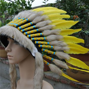 Chief Indian feather Headdress 21inch Native American headdress yellow indian feather costumes War Bonnet  indian headdress