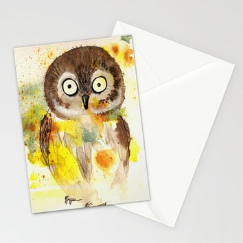 Owl - Greeting Card cute baby owl kids birthday gift ideas congratulations shower get well love you colorful watercolor painting envelope