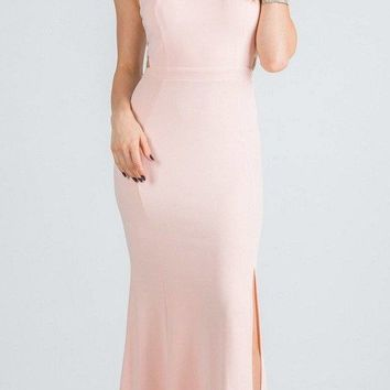 Blush Embellished Mermaid Long Prom Dress with Side Cut-Outs