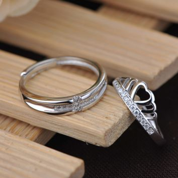 Elegant Couples Silver Crown Clear Crystal Ring
