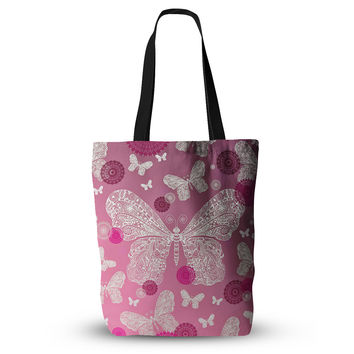 "Monika Strigel ""Butterfly Dreams Pink Ombre"" Magenta Everything Tote Bag"