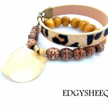 Leather Cuff, Beaded Wooden Stacking Bracelet, Stacking Bracelet Set, Neautral Bracelet, Layering Wooden Tassel Bracelet, Animal Print