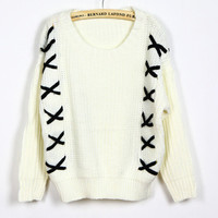White Ladies Knitting Loose Sweater One Size YS1010w from efoxcity