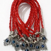 """Lot of 10 - """"Lucky"""" HAMSA Red String Kabbalah Bracelets with Braided String and Rotating """"Evil Eye"""" Hamsa Hand - Jewish Judaica Amulet Pendant Jewelry for """"Success and Protection"""""""