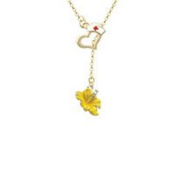 Yellow Hibiscus Flower Gold Tone Nurse Hat Heart Lariat Necklace