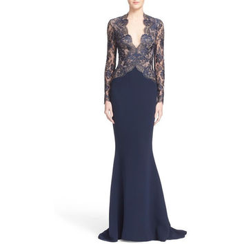 V-Neck Lace & Silk Crepe Trumpet Gown