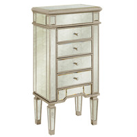 Elegant Lighting - 4 Drawers Jewelry Armoire, Silver/Antique mirror