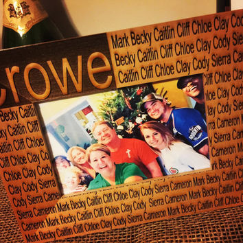 Personalized Laser engraved Alder wood Family picture frame 4x6