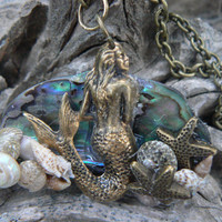 mermaid at sunset necklace mermaid jewelry siren abalone seashells RIGHT mermaid resort wear cruise wear beach wear high fashion gypsy boho