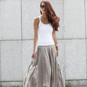Lagenlook Grey Side Pockets Casual Pleat Long Maxi Skirt - NC409