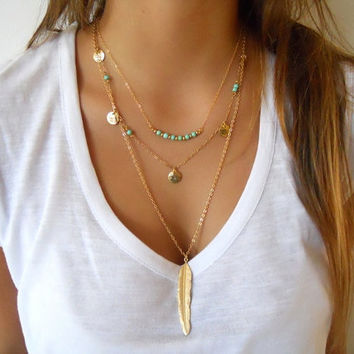 Jewelry New Arrival Stylish Gift Shiny Hot Sale Vintage Style Metal Feather Tassels Turquoise Necklace [7298063559]