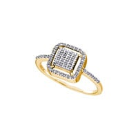 10kt Yellow Gold Womens Round Diamond Square Frame Cluster Slender Ring 1/6 Cttw 46699