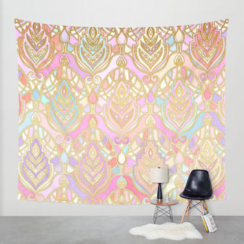 Rosy Opalescent Art Deco Pattern Wall Tapestry by Micklyn