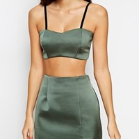 ASOS PETITE Exclusive Co-ord Crop Top in Bonded Satin