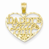 14k Gold D/C Daddy's Little Girl Heart Pendant